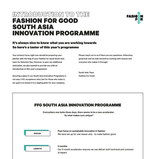 FASHION FOR GOOD SOUTH ASIA INNOVATION PROGRAMME